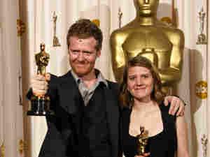 300 Glen Hansard and Marketa Irglova show off their Oscars.