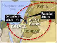 Map of President Bush's Mideast Trip