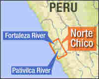 A map showing the location of Norte Chico.