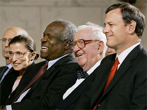 Chief Justice Roberts, Justices Stevens, Thomas, Ginsburg and Breyer