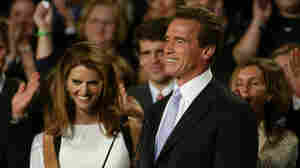 Republican Arnold Schwarzenegger, right, is joined by wife Maria Shriver as he celebrates his victory in the California gubernatorial recall election in Los Angeles, Tuesday, Oct. 7, 2003.