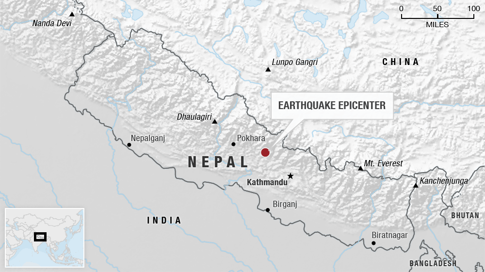 Map of recent Nepal earthquakes