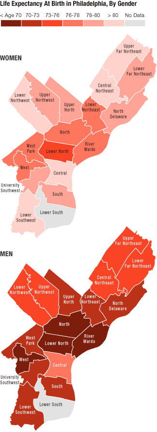 Map of life expectancy at birth in Philadelphia, by neighborhood