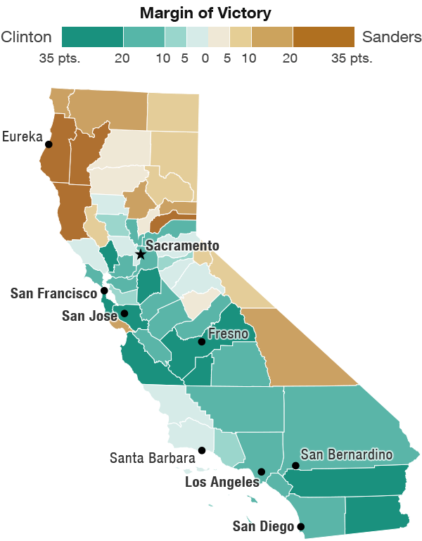 California Map Showing Which Counties Were Won By Clinton And Sanders