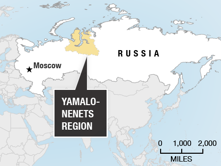 Map showing the location of Yamalo-Nenets in Russia