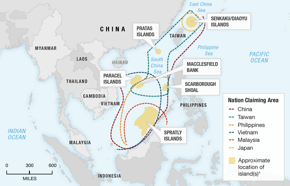 Map showing disputed territory in the South China Sea