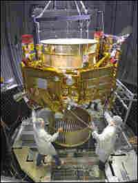 LCROSS is lowered into the thermal vacuum chamber for tests.