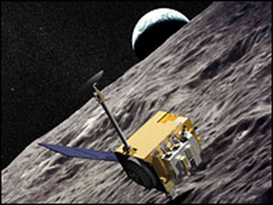 An artist's rendering of the Lunar Reconnaissance Orbiter circling the moon