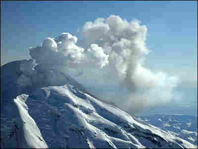 A view of the north flank of the Redoubt volcano. This ash vent is at an elevation of 8,300 feet.