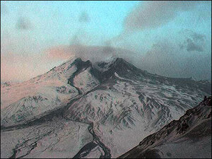 This wecam photo shows Mt. Redoubt at 8:43 p.m., about an hour after its sixth eruption.