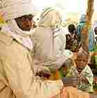 Refugees fleeing the conflict in Darfur at a camp in Chad.