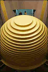 This golden-plated sphere, weighing 730 tons, is the world's biggest and heaviest tuned mass damper.
