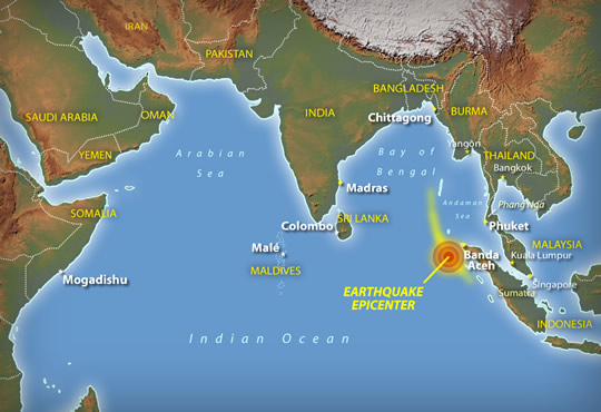 Asian tsunami earthquake epicentre