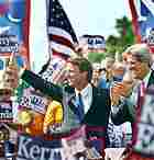 Democratic running mates John Edwards and John Kerry campaign in Dayton, Ohio, July 7, 2004.