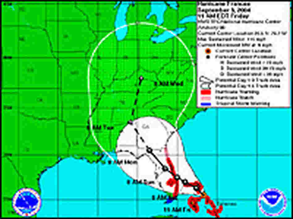 NOAA has altered its predicted path of Hurricane Frances. Credit: NOAA