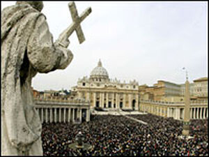 Crowds fill St. Peter's Square.