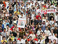 Thousands of protesters participate in an anti-Japan protest in Shenzhen