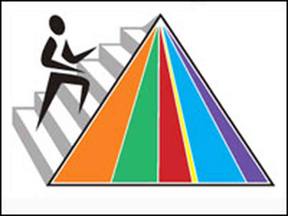 hide caption The new food pyramid icon represents the recommended ...