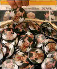 Buttons in Pope Benedict XVI's hometown celebrate his rise to the papacy.