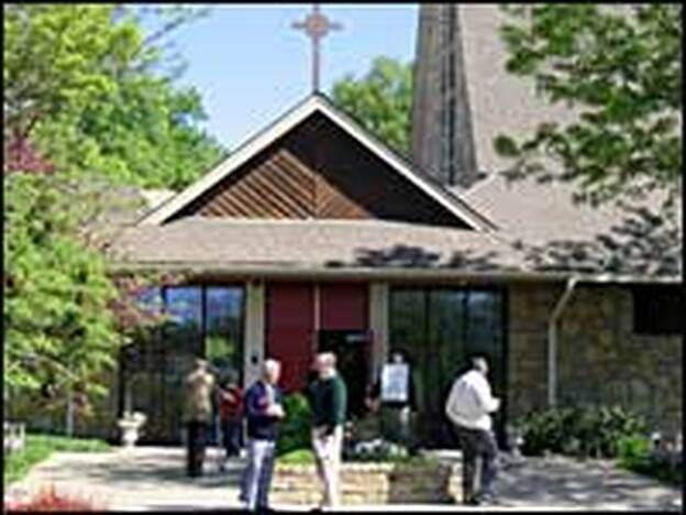 Congregants stand outside Christ Church Episcopal in Overland Park, Kan.