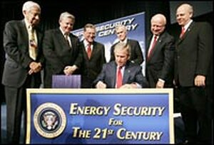President Bush signs the energy bill.