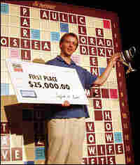 David Wiegand celebrates his winnings at the 2005 National Scrabble Championship.