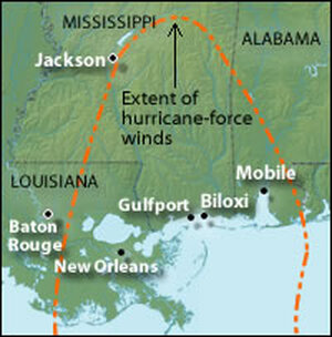 Map showing the reach of hurricane-force winds from Katrina.