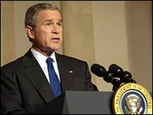 President Bush speaks at the White House about the Iraqi elections.