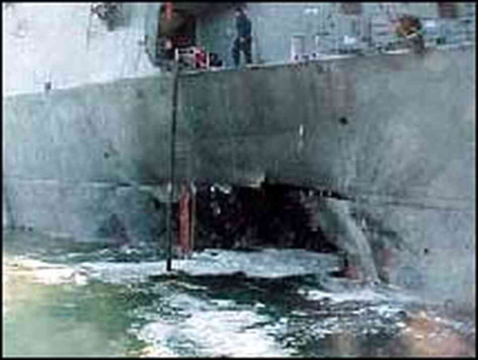 USS Cole after bomb attack in 2000
