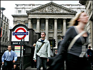London commuters leave Bank underground station in central London.
