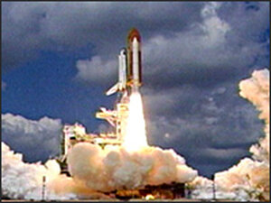Space Shuttle Discovery launches from pad 39B at Kennedy Space Center, Fla.