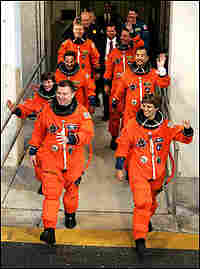 Shuttle Crew leaves for launch pad