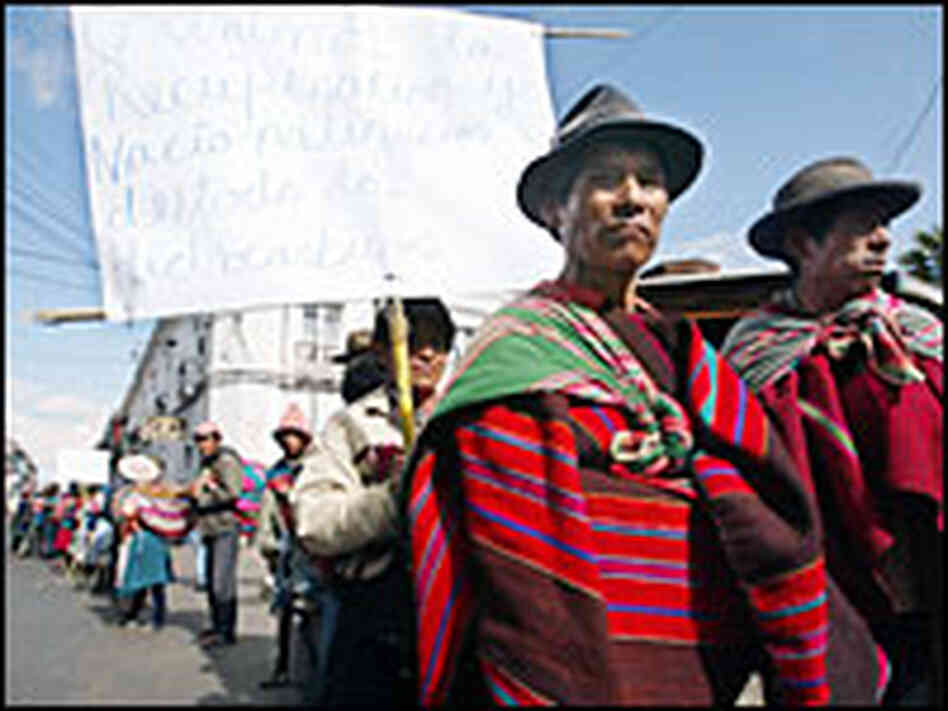 Bolivian Indians March During Protest