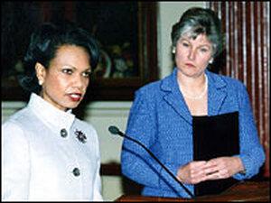 Secretary of State Condoleeza Rice and Karen Hughes