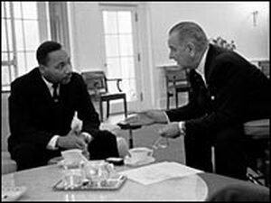 President Johnson meets with Martin Luther King Jr. in the Oval Office in 1963.