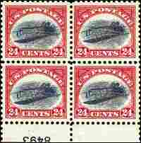 Inverted Jenny Error Plate Block