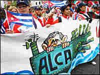 Demonstrators in Mar del Plata, Argentina, protest U.S. free-trade policies