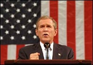 President Bush addresses a joint session of Congress.