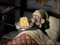 Wallace in bed with Cheese