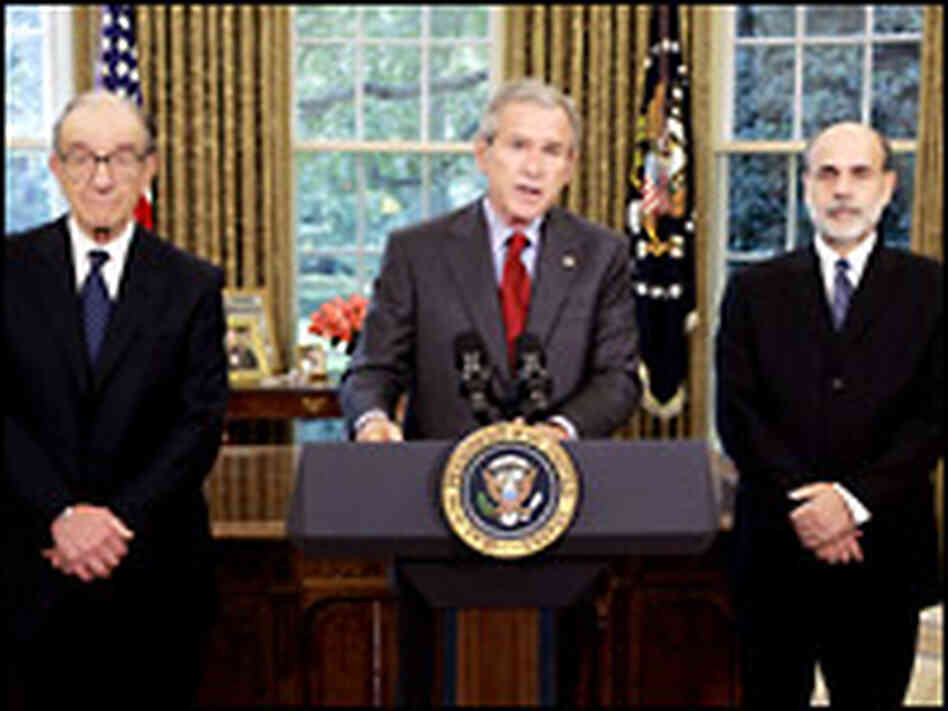 President George W. Bush announces that Ben Bernanke will replace Alan Greenspan. Credit: Reuters.