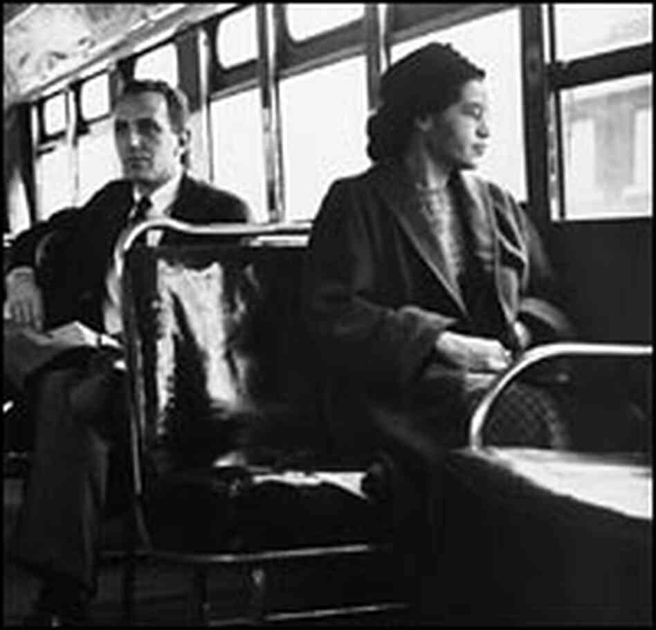 Rosa Parks sits in the front of a bus in Montgomery, Ala., in 1956.