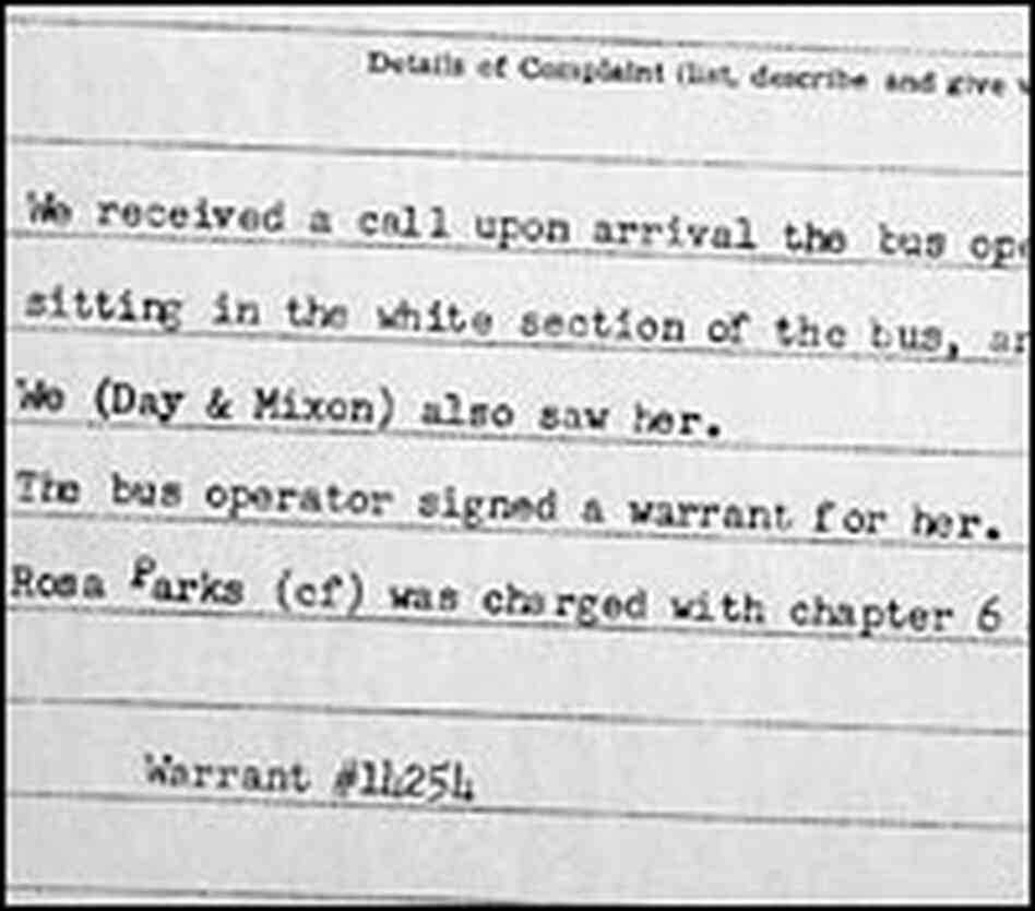 The Dec. 1, 1955, police report on the arrest of Rosa Parks in Montgomery, Ala.