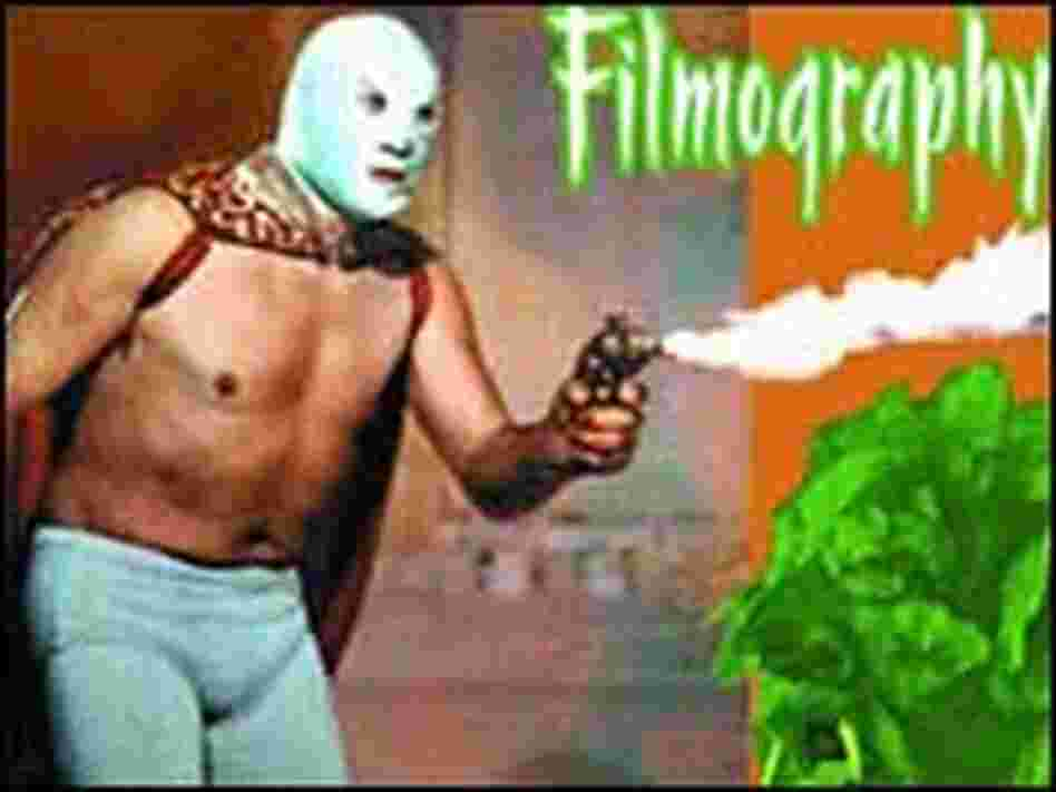 Detail from the cover of 'The Mexican Masked Wrestler and Monster Filmography'