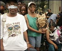Evacuees wait in vain outside the convention center in New Orleans.