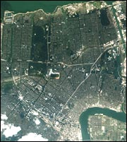 An Aug. 31, 2005, satellite image shows the extent of flooding in New Orleans.