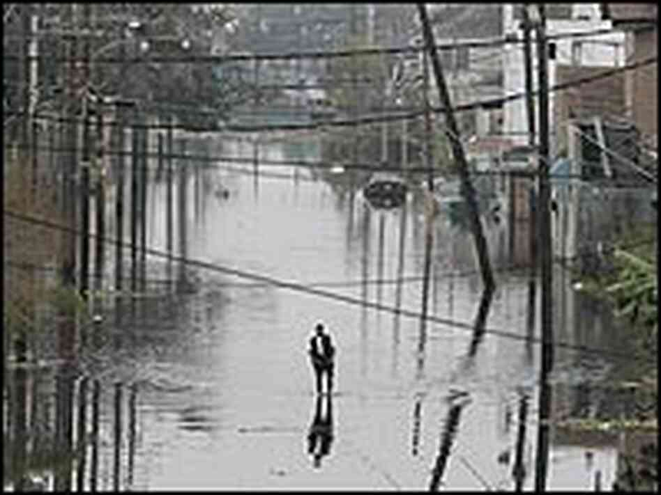 A man walks alone in New Orleans' floodwaters