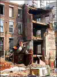 A building in downtown New Orleans demolished by Hurricane Katrina.