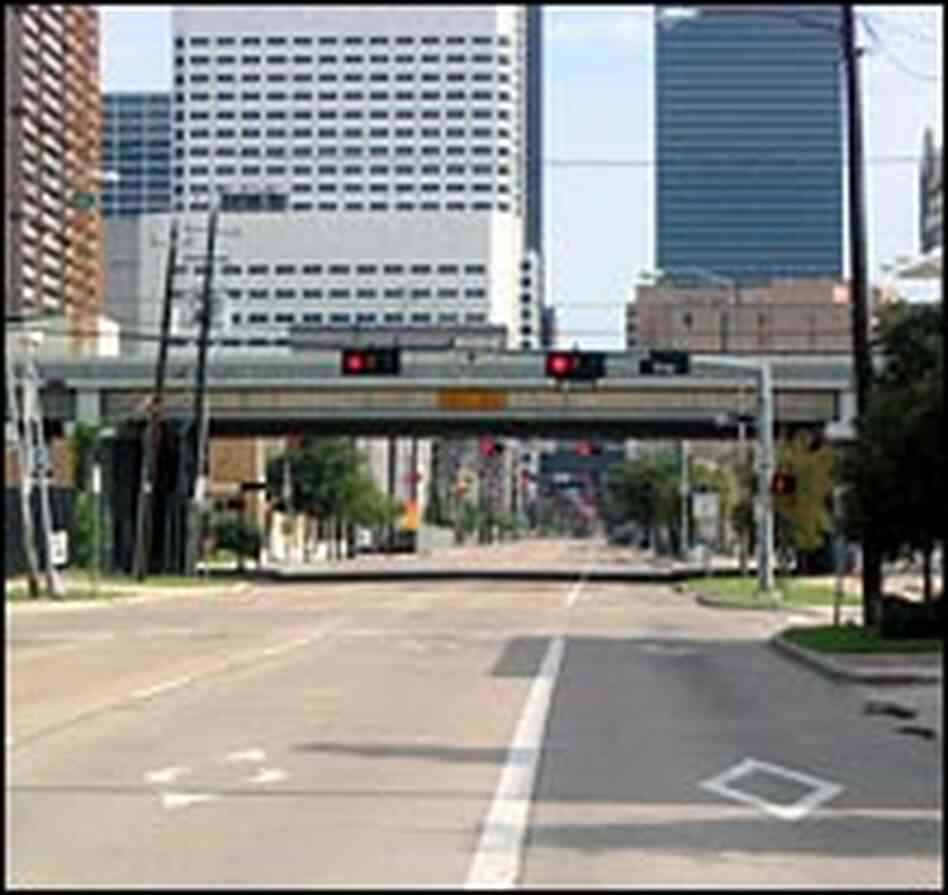 Houston's streets were virtually deserted Friday afternoon.