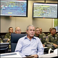 President Bush receives a briefing on Hurricane Rita at Northern Command headquarters in Colorado Springs, Colo., Sept. 24, 2005.