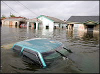 The top of a truck is seen above floodwaters in the Lower Ninth Ward of New Orleans, Sept. 24, 2005.